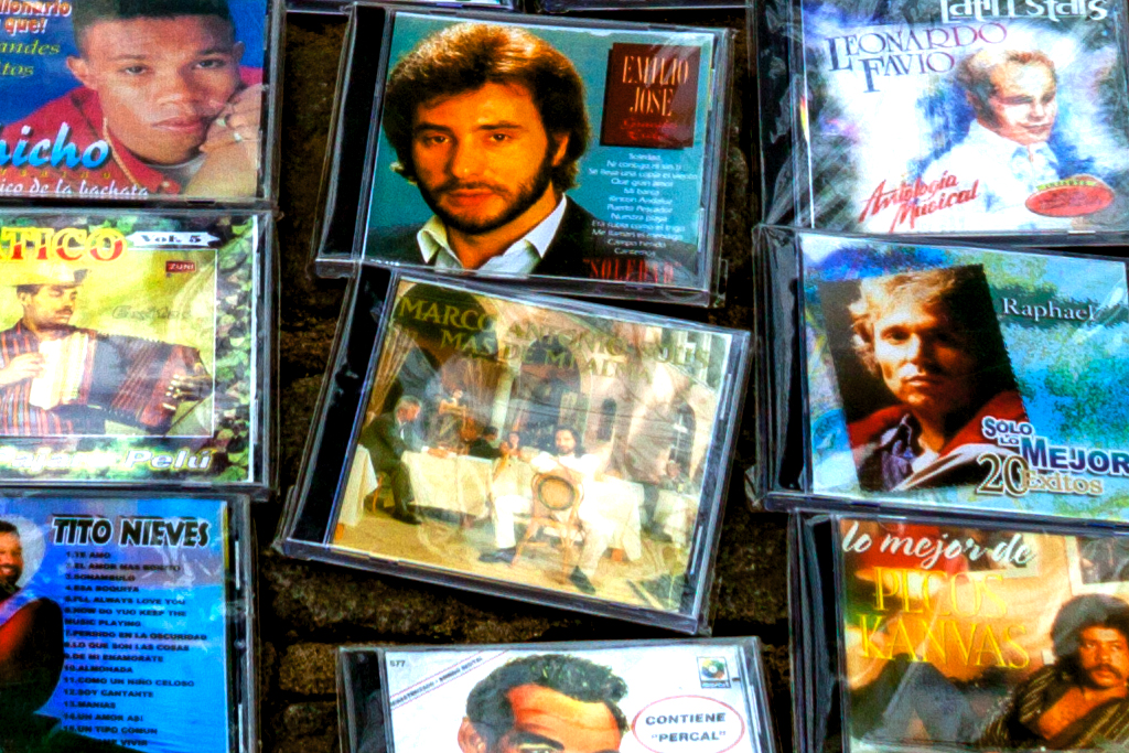 CDs for sale on sidewalk--Washington Heights (detail 2)