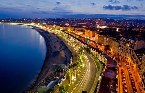 city longexposure france beach night coast nice nikon dusk bluehour d5100