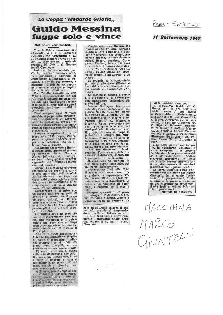 Coppa Medardo Griotto (cat. allievi) vinta per distacco da Messina, secondo Negro (articolo Paese Sportivo 11 settembre 1947)