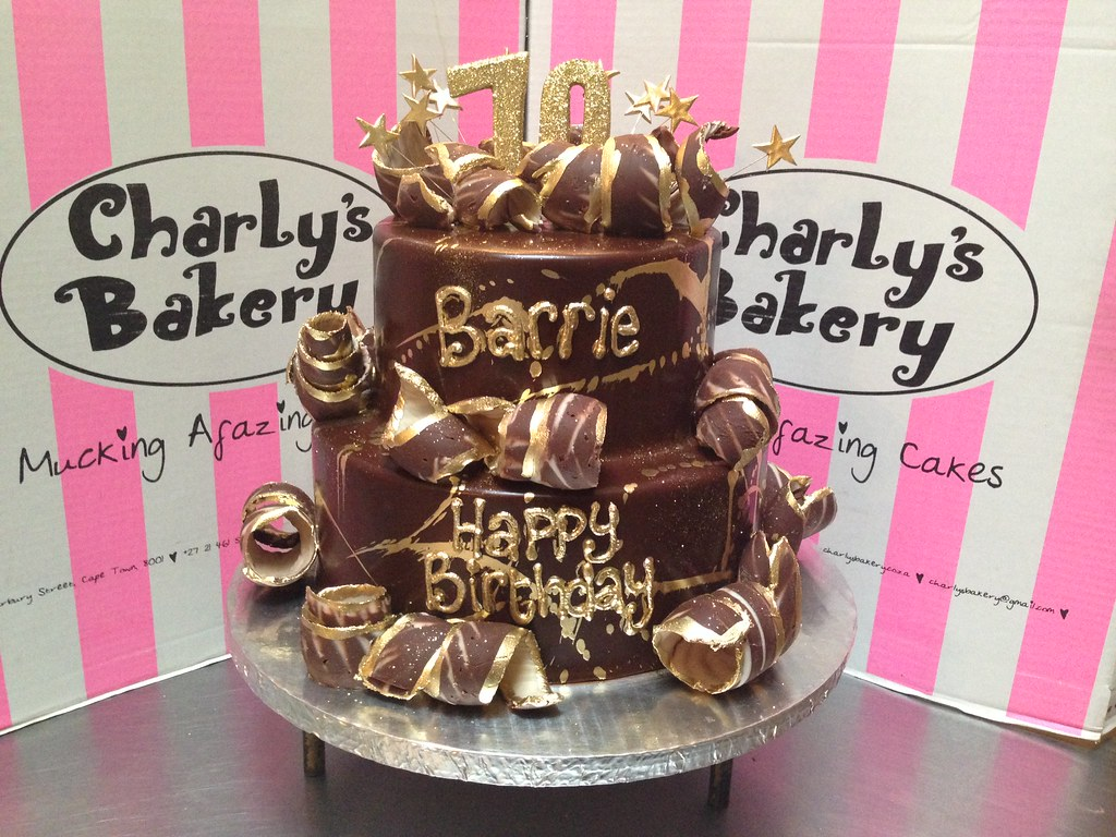 2 Tier Wicked Chocolate 70th Birthday Cake Iced In Ganache With Edible Gold Paint