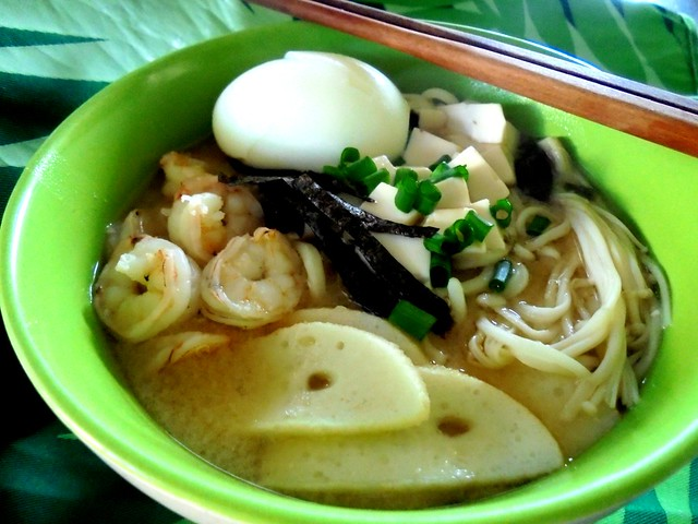 Ramen in seafood miso soup 1