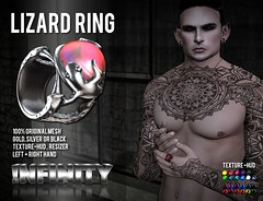 !NFINITY Lizard Ring  @  Men Only Monthly September