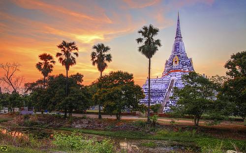 sunset thong wat hdr khao phu ayutthaya chedi phukhao