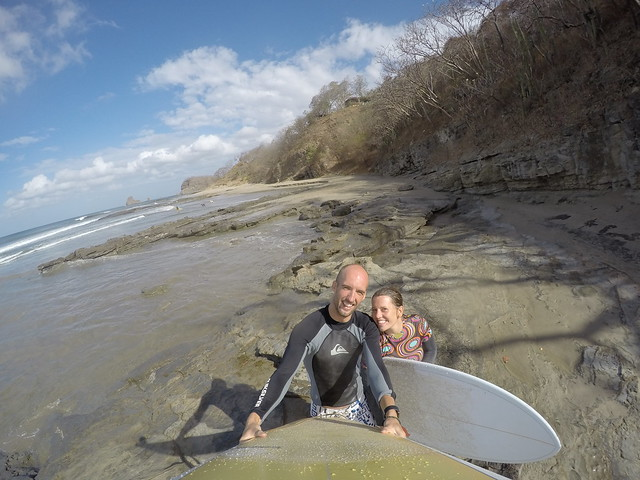 Maeve and I with shortboards at Playa Maderas