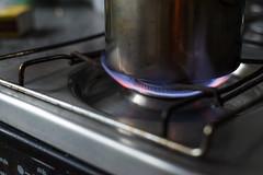 Gas Stove Burner Blue Flame