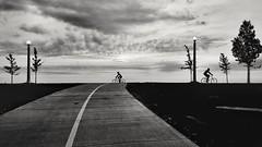 biking at sunrise Black & White