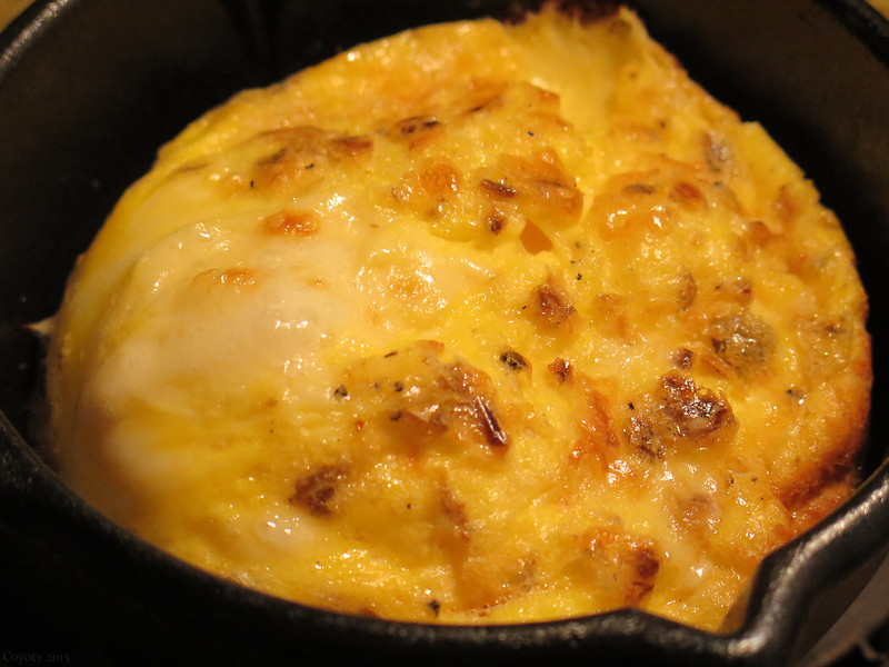 Green chili cheddar scrambled egg souffle