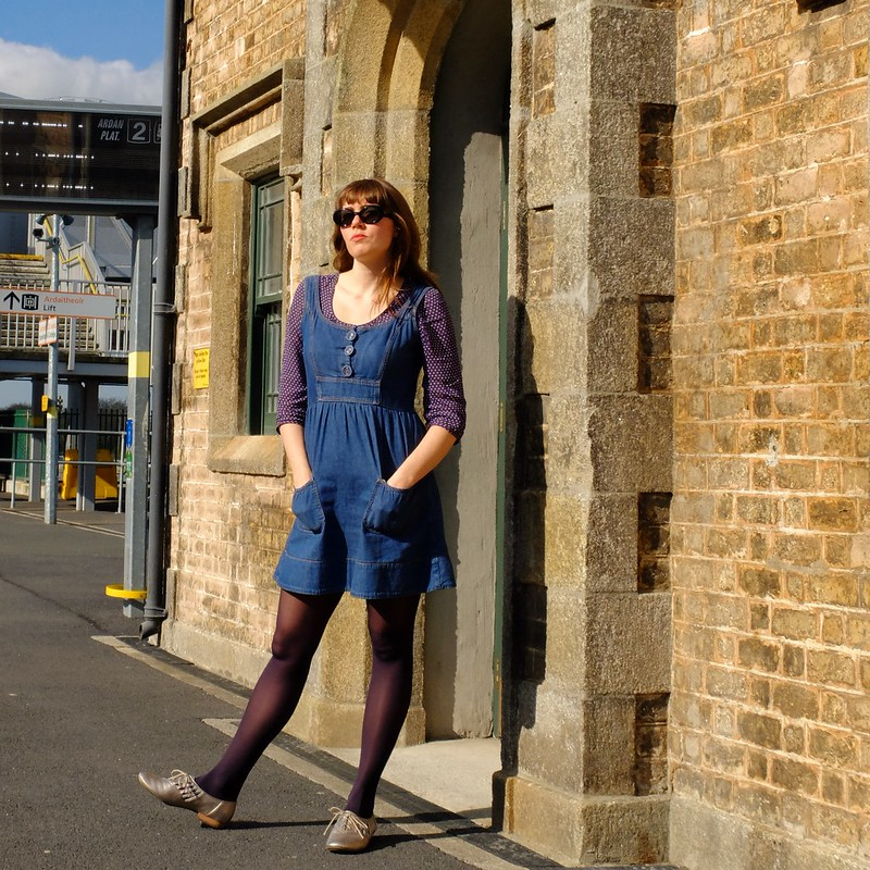 Denim Dress & Metallic Brogues