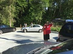 Mercedes silver car got stuck on the gravel parking lot...