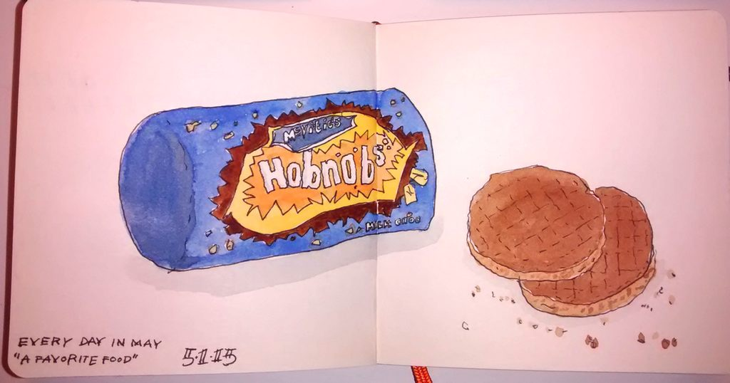 A sketch of some Hobnobs for the Every Day in May challenge.