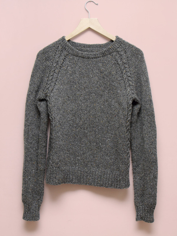 Simple, grey, top-down sweater
