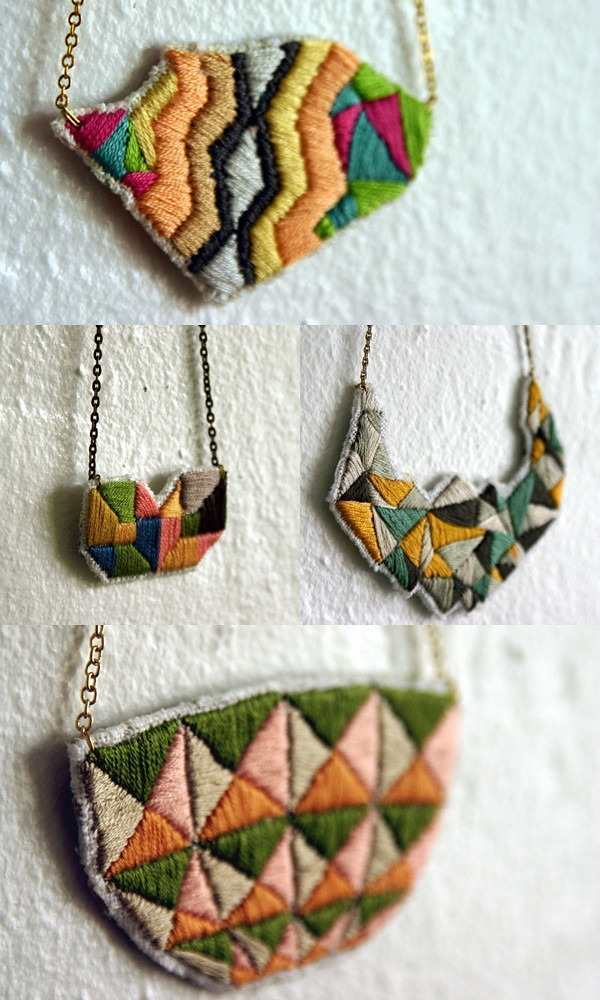 Hand embroidered jewellery designed by Maranon | Emma Lamb