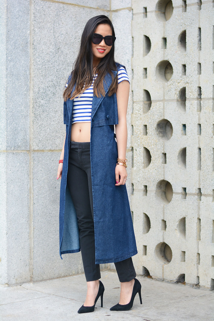 ASOS denim sleeveless trench coat, striped crop top outfit