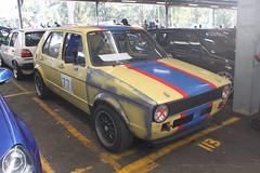 race car, automobile, family car, supermini, volkswagen, vehicle, volkswagen golf mk1, subcompact car, city car, antique car, land vehicle,