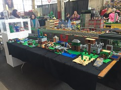 Lego Minecraft World group build by 30-40 kids at Brickmania in Train Room today