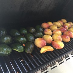 Grilling peaches and avocados for salad #CookingSchool #StonewallKitchen :heart:️