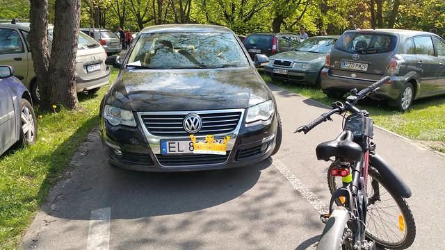 Samochody jeżdżące po drodze dla rowerów wokół ogrodu botanicznego w Łodzi.