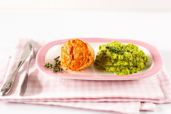 Salmon Souffle with Green Peas Puree