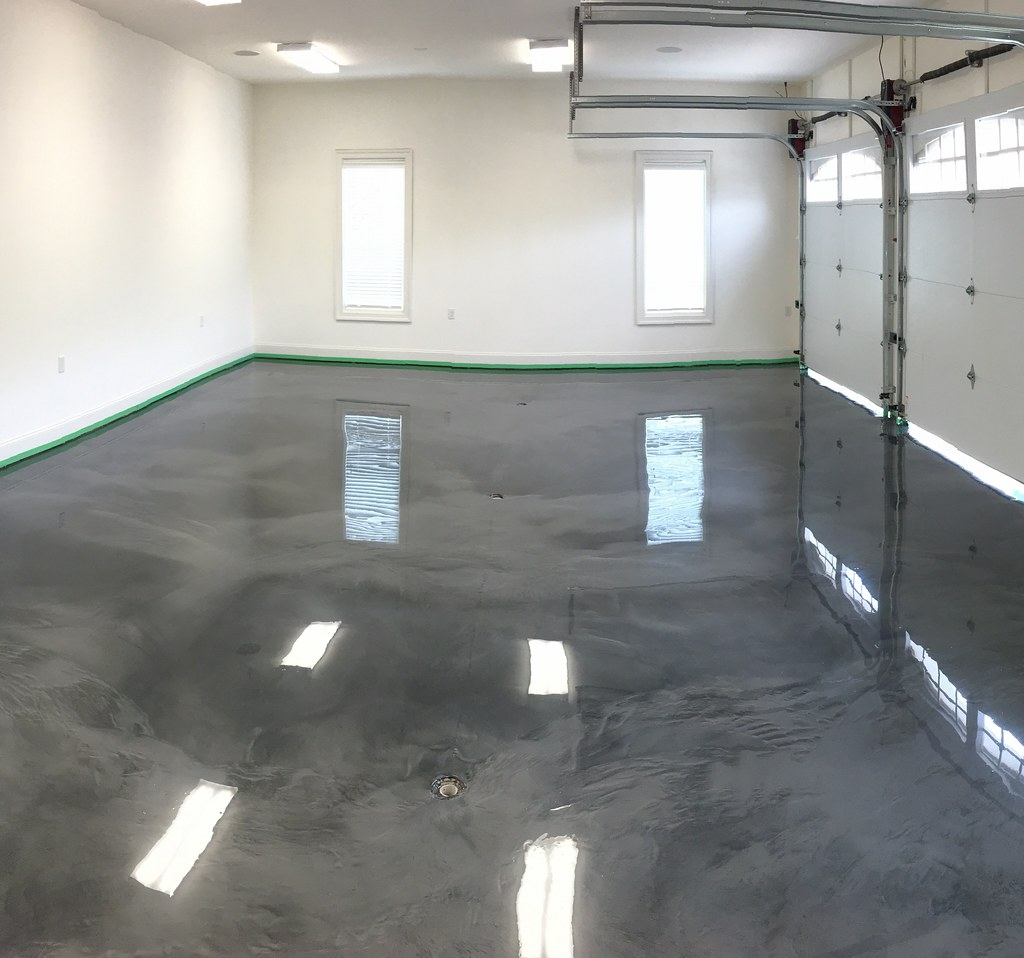 We poured a metallic epoxy garage floor today at smith for Pouring concrete garage floor
