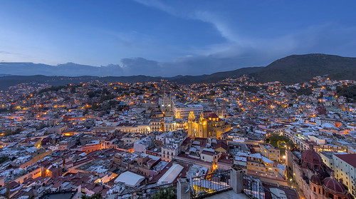 city blue sunset panorama storm mexico lights nikon university cloudy dusk hour after guanajuato nikkor clearing partly d600 f28g 1424mm