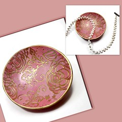 polymer clay Pink-Coral Ring Dish