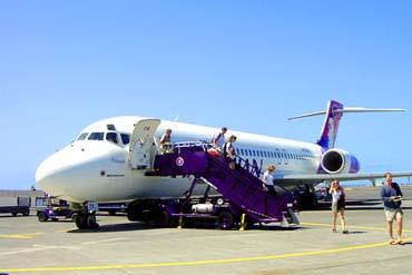 ハワイアン航空の到着