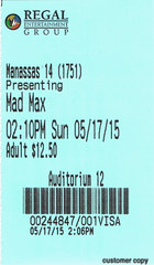 Mad Max: Fury Road ticketstub