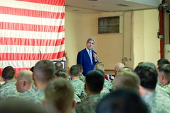U.S. Secretary of State John Kerry addresses a cross-service corps of U.S. service members stationed at Camp Lemonnier - the only U.S. military base in Africa - during a visit to Djibouti, Djibouti, on May 6, 2015. [State Department photo/ Public Domain]