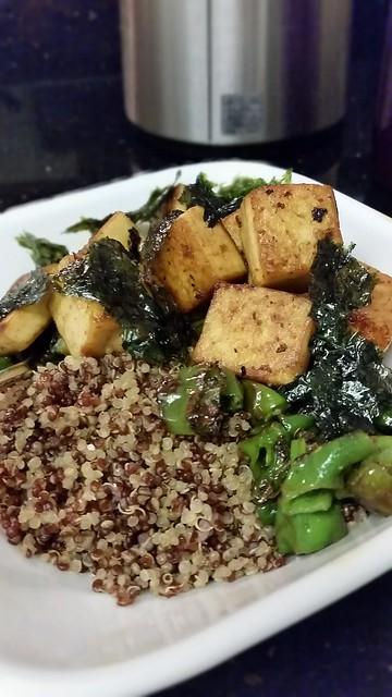 Quinoa, pan-fried shishito peppers tofu, and seaweed
