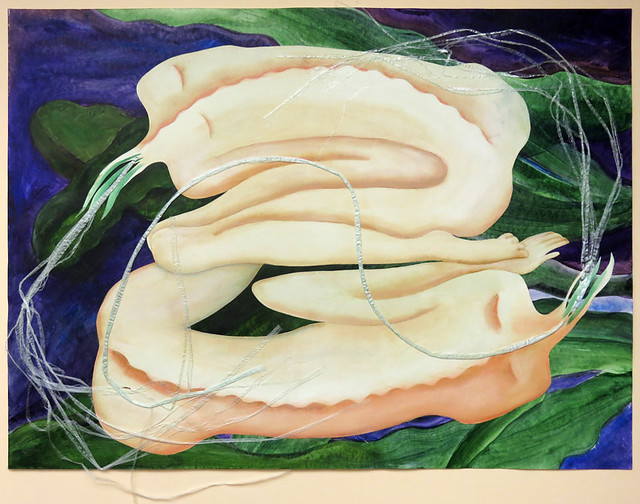 The original painting of Pastel drawing of women and the Queen of the Night (Night-blooming Cereus)