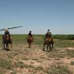 July 11, 2014 - 13:35 - TDCJ-ID dogs assisting in search. Texas Ranger along on horseback assisting the dog Sgt.
