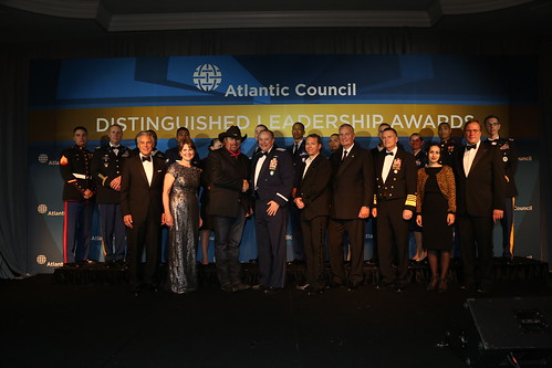 2015 Distinguished Leadership Award honorees and presenters with Atlantic Council President and CEO Fred Kempe and Chairman Jon Huntsman