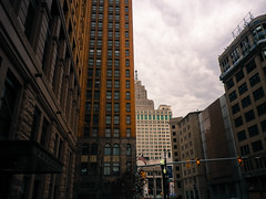 Downtown detroit skyline, bisected