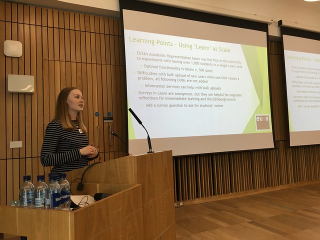 Rachel Pratt talks about EUSA's training approach, working with student representatives across the University, at elearning@ed 2016