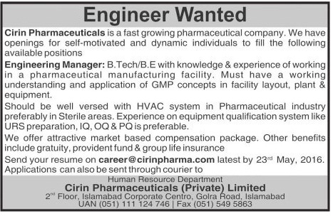 Engineering Manager Required for Cirin Pharma