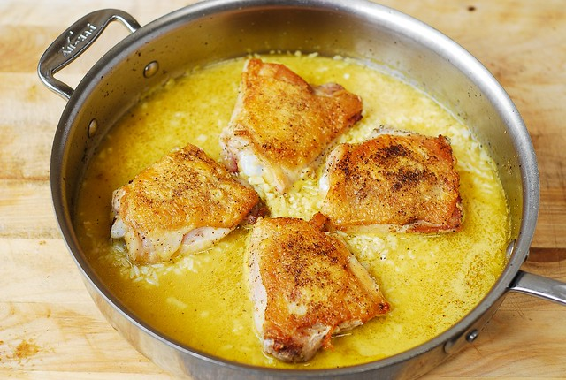 add chicken thighs on top of broth and rice, one pot chicken dinners, easy chicken rice, healthy rice recipes, how to cook rice
