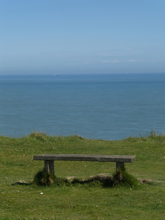 Bench on clifftop St Margaret's Bay, Dover to Deal walk