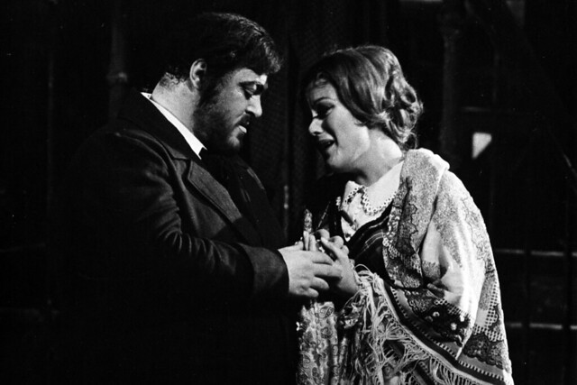 Luciano Pavarotti as Rodolfo and Kiri Te Kanawa as Mimì in La bohème, The Royal Opera, 1976 © ROH. Photograph by Donald Southern