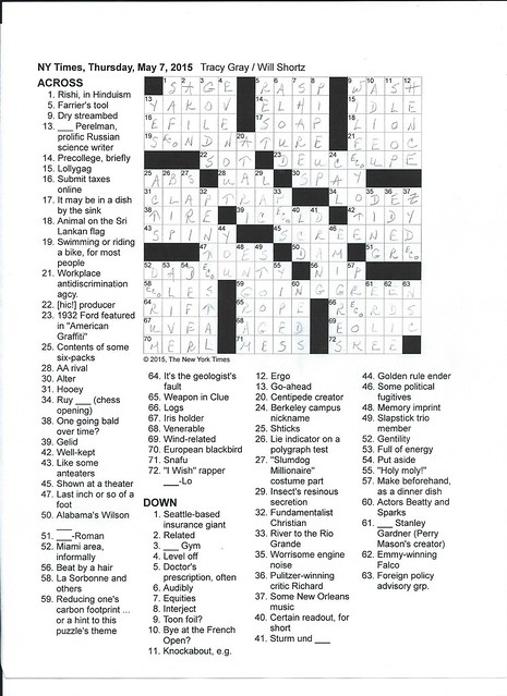 NYT Thursday Puzzle - May 7, 2015