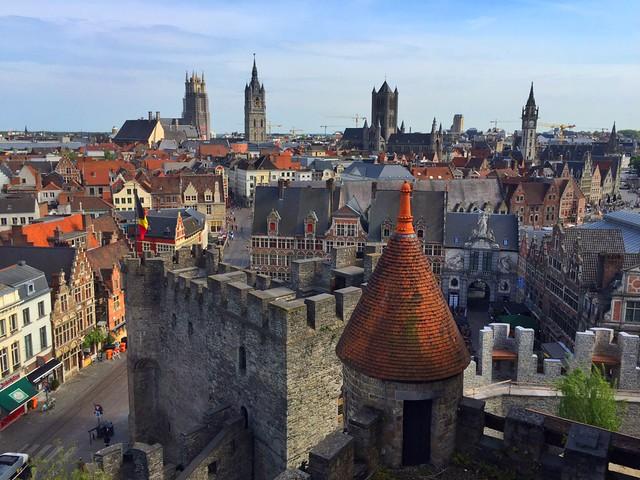 Vistas de Gante desde el Castillo de los Condes de Flandes