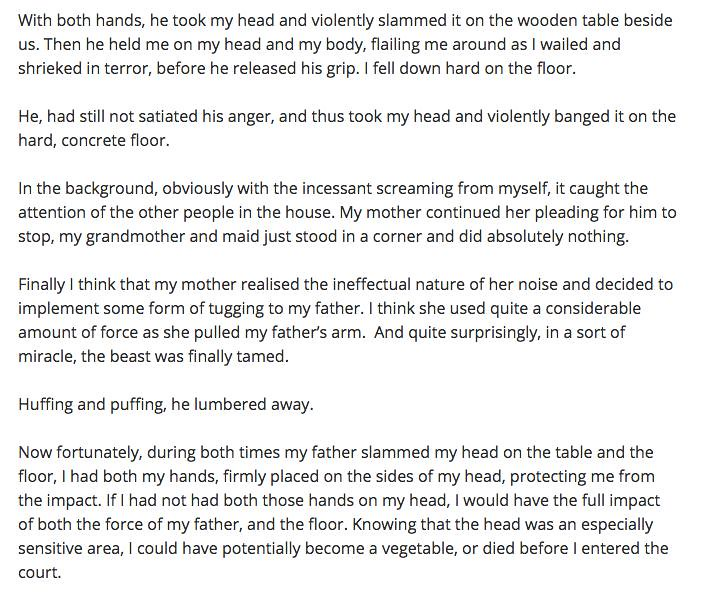 Screenshot from Amos' blog on the alleged antics of his dad