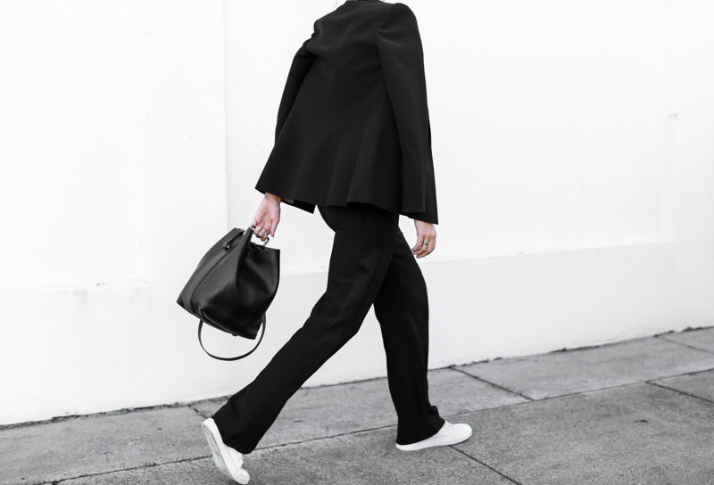 modern legacy, fashion blog, bucket bag, street style, sport luxe, wide leg suit, karen millen, monochrome, sneakers (1 of 1)