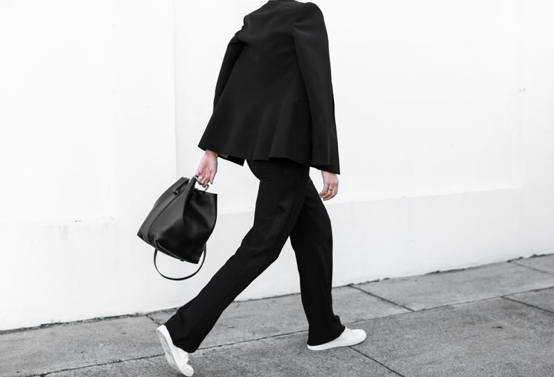 modern legacy, fashion blog, bucket bag, street style, sport luxe, wide leg suit, karen millen, monochrome, sneakers (1 of 1)