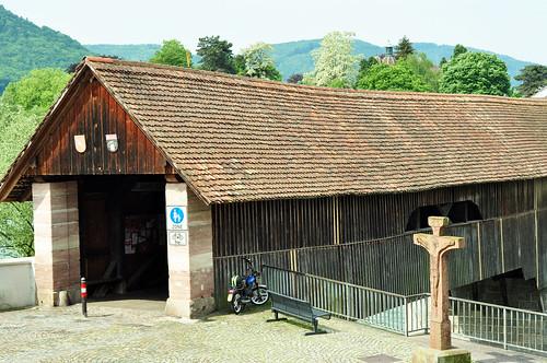 Bad Säckingen Hochrhein Stein Schweiz Holzbrücke
