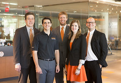 The College of Engineering, Architecture and Technology (CEAT) at OSU has five students admitted to the graduate program at Cambridge University in the United Kingdom. From left to right: Philip White, Eric Gilbert, Eric Ruhlmann, Kathleen Nelson and Peter Storm.