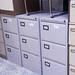 Grey three drawer filing cabinet