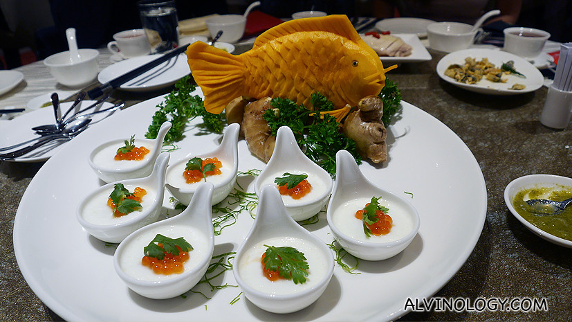 Steamed Egg with Coconut juice topped with Crab Meat and Salmon Roe - S$9.80 per serving