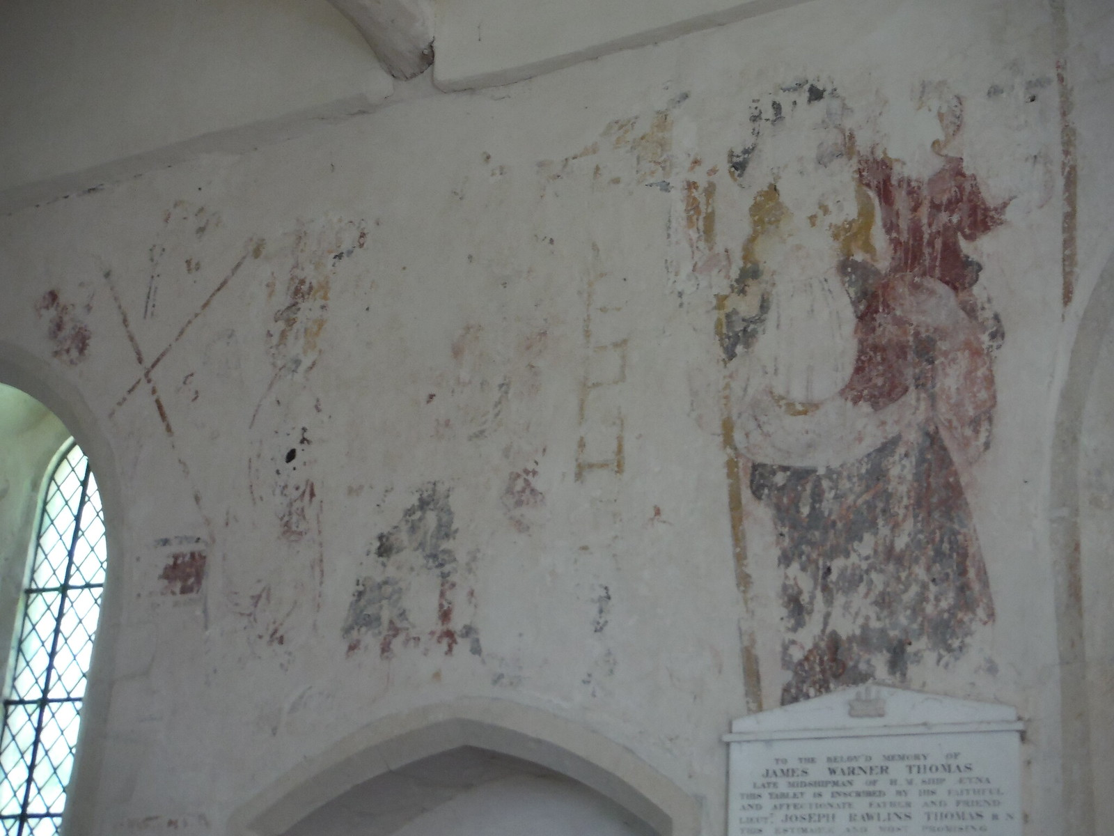 Fresco in St. Michael and All Angels, Up Marden SWC Walk Rowlands Castle Circular