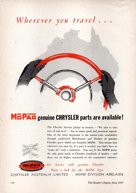 1957 Chrysler Mopar Genuine Parts Wherever You Travel... Aussie Original Magazine Advertisement