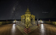 Doi sappanyoo temple with milky way.